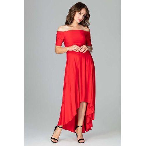 d2e7ff1722 Czerwona Długa Asymetryczna Sukienka z Odkrytymi Ramionami