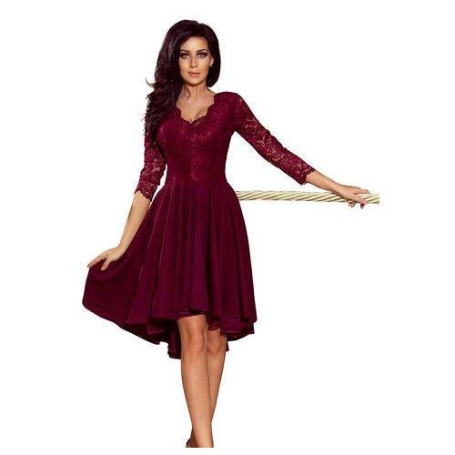 df0fceeb4e9c45 Bordowa Wieczorowa Asymetryczna Sukienka z Koronką, wieczorowa