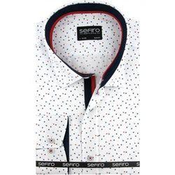 d6c0aec8b Sefiro Koszula męska biała we wzory slim fit na spinki lub guzik a099