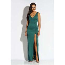 a534f9cf8d Zielona sukienka wieczorowa maxi z długim rozcięciem marki Dursi