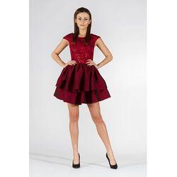 07cc744a74 Bordowa Sukienka Wieczorowa z Tafty i Koronki
