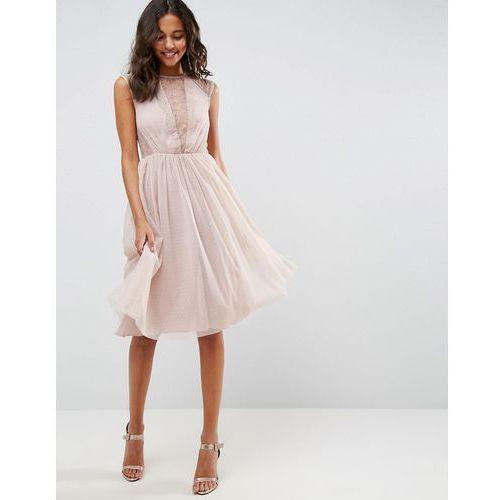 Asos lace tulle cap sleeve midi dress - pink