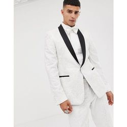 c31f0375baa09 Asos edition skinny tuxedo suit jacket in sequin and lace embellished white  sateen - white