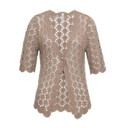 Sweter rozpinany szydełkowy brunatny marki Bonprix