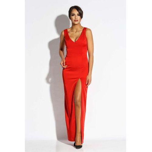 cfdf1b84ed Czerwona Sukienka Wieczorowa Maxi z Długim Rozcięciem