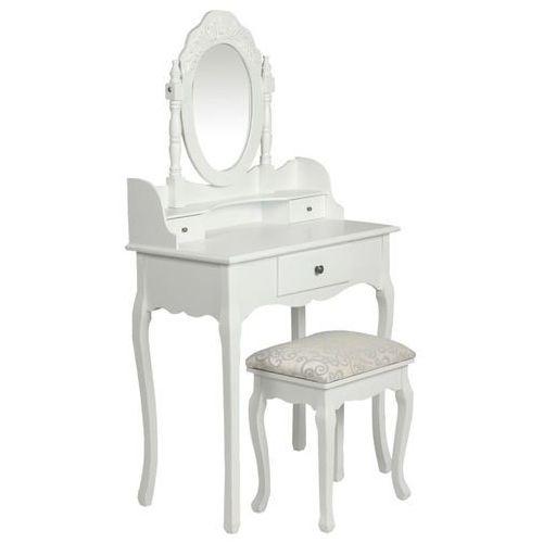 vidaXL Toaletka z lustrem i stołkiem, biała