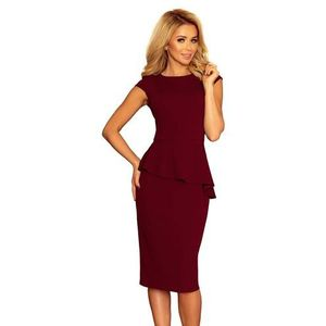 662113edd4 Bordowa Elegancka Ołówkowa Sukienka Midi z Asymetryczną Baskinką