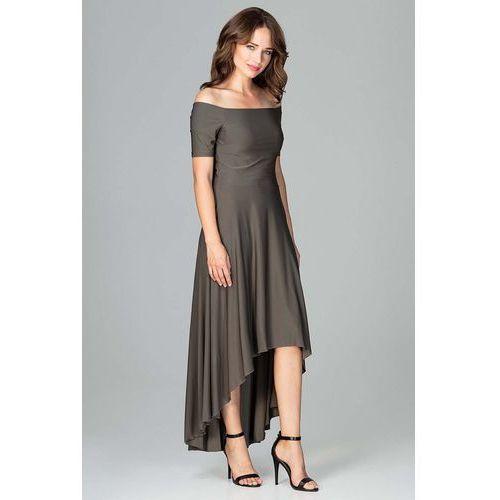 268c15c171 Oliwkowa Długa Asymetryczna Sukienka z Odkrytymi Ramionami