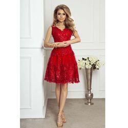 7dde6bc67c Czerwona Wieczorowa Rozkloszowana Sukienka z Gipiury