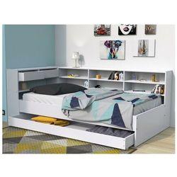 Łóżko z szufladami i półkami renato ii - 90 × 190 cm - biały marki Vente-unique