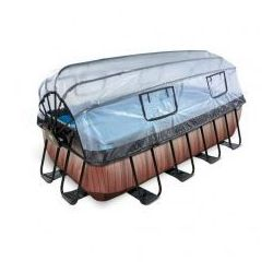 Basen Exit Wood brązowy prostokątny 400 x 200 cm składany dach drabinka pompa filtrująca