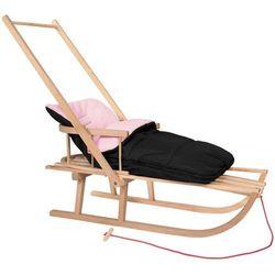 Sanki dla dzieci z pchaczem i oparciem drewniane, śpiworek czarno-różowy