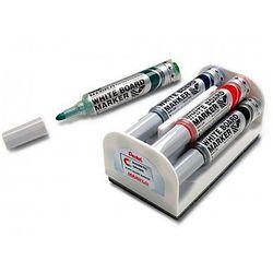 Markery do tablic suchościeralnych MAXIFLO Pentel MWL5M, 4 kolory + gąbka