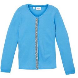 Sweter dz. rozp z cekinami bonprix niebieski niemowlęcy
