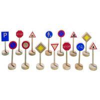 Zabawki z drewna, Drewniane znaki drogowe, zestaw do zabawy, Goki WM 397