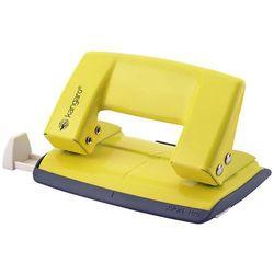 Dziurkacz KANGARO Aion-10G/S, dziurkuje do 10 kartek, metalowy, w pudełku PP, żółty