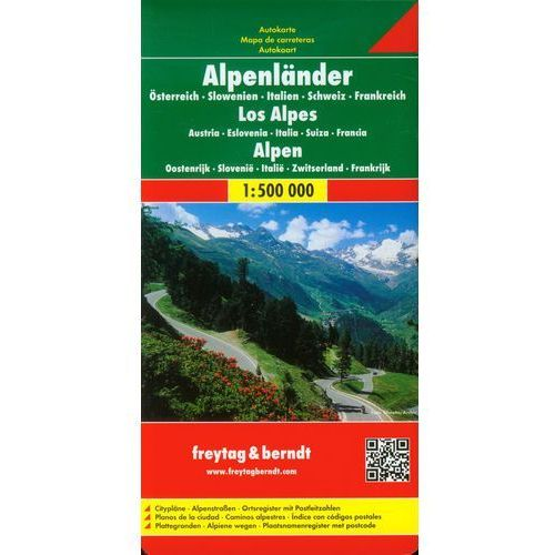Mapy i atlasy turystyczne, Alpy (Austria, Słowenia, Włochy, Szwajcaria, Francja). Mapa samochodowa, składana 1:500 000. Freytag & Berndt (opr. twarda)