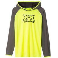 Koszulki z krótkim rękawkiem dziecięce, Shirt chłopięcy sportowy z kapturem bonprix żółty neonowy - szary z nadrukiem