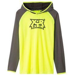 Shirt chłopięcy sportowy z kapturem bonprix żółty neonowy - szary z nadrukiem