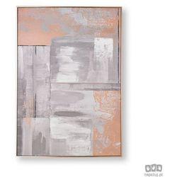 Obraz ręcznie malowany - Abstrakcja w odcieniach różowego złota i szarości 104019