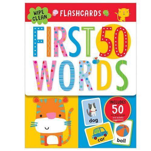 Książki do nauki języka, Flashcards 50 First Words ze zmywalnym flamastrem