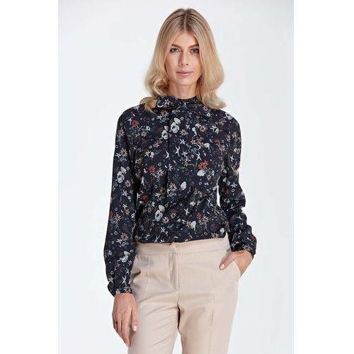 Bluzki, Stylowa Bluzka Koszulowa z Wiązaną Kokardą przy Dekolcie - Wzór Ecru