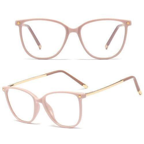 Pozostała galanteria, Okulary damskie zerówki beżowe nerdy złote kujonki