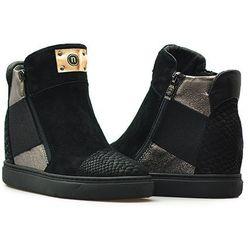 Sneakersy Nessi 17301 Czarne zamsz
