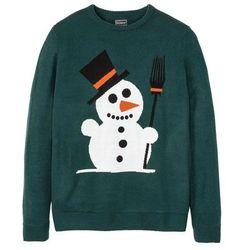Sweter z bożonarodzeniowym motywem bonprix głęboki zielony