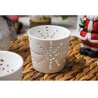 Świeczniki, KOOPMAN DECORATION Świecznik ceramiczny ażurowy, biały - mix wzorów
