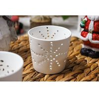 Świeczniki, Świecznik ceramiczny ażurowy, biały - mix wzorów