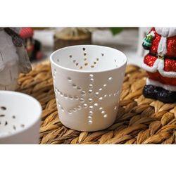 Świecznik ceramiczny ażurowy, biały - mix wzorów