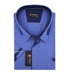 Koszula Męska Speed.A gładka niebieska na krótki rękaw duże rozmiary K726