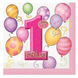 Serwetki na roczek 1st Birthday Baloniki Pink - 33x33cm - 16 szt