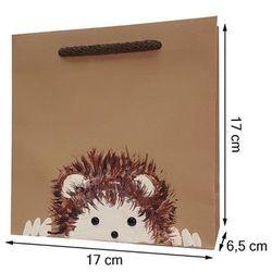 Torebka ozdobna prezentowa ręcznie malowana 17x17 - jeżyk