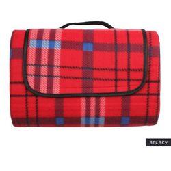 SELSEY Koc piknikowy Inverno 135x175 cm czerwony wodoodporny