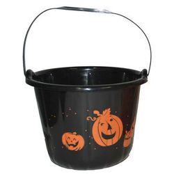 Wiaderko czarne z dyniami na Halloween - 22 cm - 1 szt.