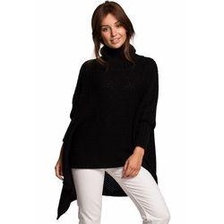 BK049 Sweter ponczo z rękawami i golfem - czarny