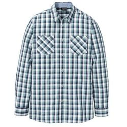 Koszula z długim rękawem w kratę bonprix ciemnoniebiesko-jasnozielono-biały w kratę