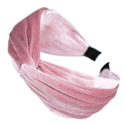 Pozostała biżuteria, Opaska do włosów szeroka turban różowa welurowa