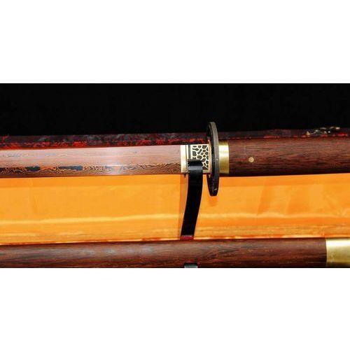 Broń treningowa, MIECZ JAPOŃSKI SAMURAJSKI NINJA DO TRENINGU, STAL WYSOKOWĘGLOWA 1095 WARSTWOWANA DAMASCEŃSKA CZERWONA, R355