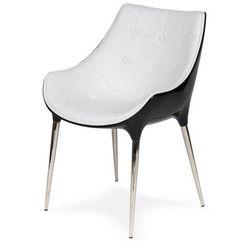 Fotel PASSION biało-czarny, ekoskóra - włókno szklane, podstawa chromowana