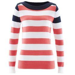 Sweter z dekoltem w łódkę bonprix ciemnoniebiesko-koralowo-biały w paski