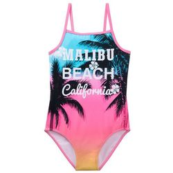 Kostium kąpielowy dziewczęcy bonprix różowy flaming z nadrukiem