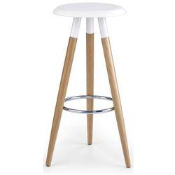 Drewniany hoker okrągły Terson - biały
