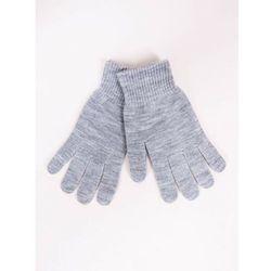 Rękawiczki damskie jasnoszare dziane ze srebrną nitką 21