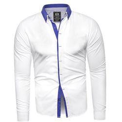 Koszula maklerka długi rękaw rl46 - biała / niebieska