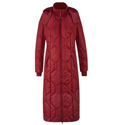 Długi płaszcz z diamentowym pikowanym przeszyciem bonprix czerwony kasztanowy
