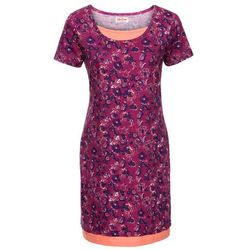Sukienka shirtowa 2 w 1, z nadrukiem, krótki rękaw bonprix fioletowy