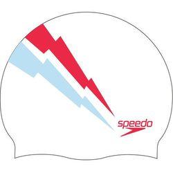 speedo Slogan Czepek z nadrukiem, white/sky/lava red 2020 Czepki pływackie Przy złożeniu zamówienia do godziny 16 ( od Pon. do Pt., wszystkie metody płatności z wyjątkiem przelewu bankowego), wysyłka odbędzie się tego samego dnia.